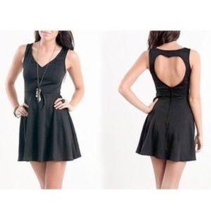 Kirra Open Back Heart Cut-Out Black Skater Dress